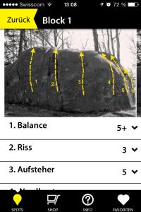 Jeder Block ist mit Foto-Topo und Routennamen inkl. Bewertung dokumentiert.